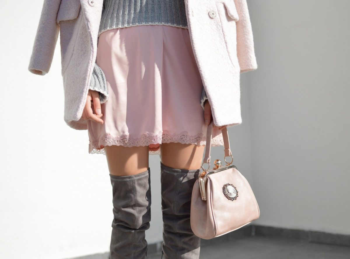 grey over knee boots outfit with blush pink skirt