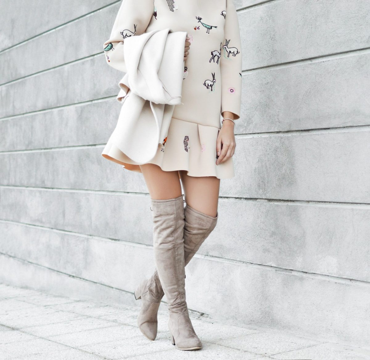 how to wear grey suede over knee boots with a dress