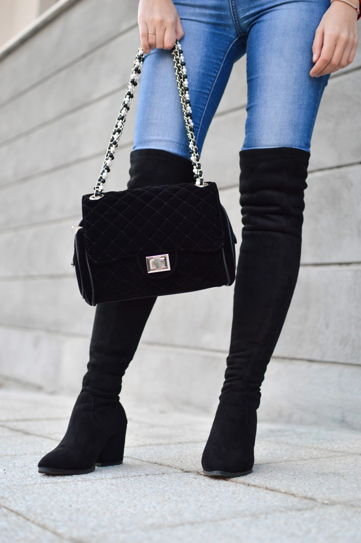 how to wear over the knee boots with jeans block heel for petite
