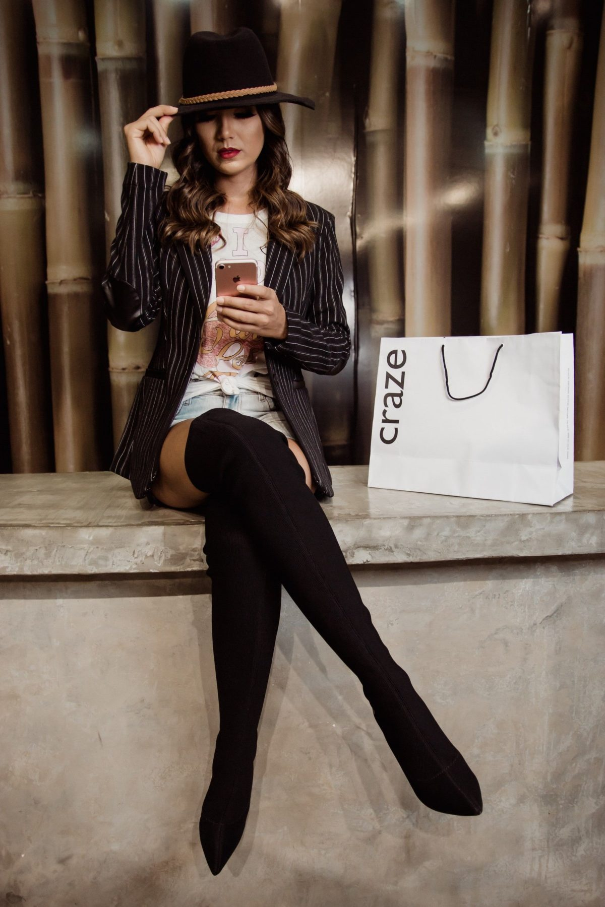 over knee boots black suede with shorts and blazer