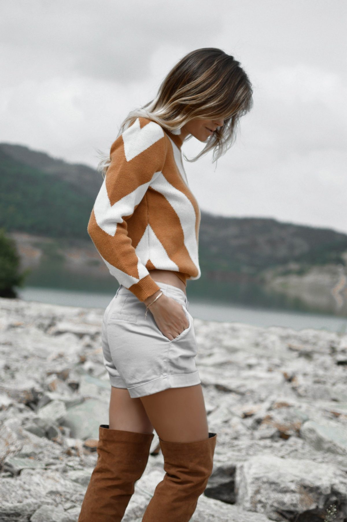 over knee boots cognac with shorts and chevron pullover