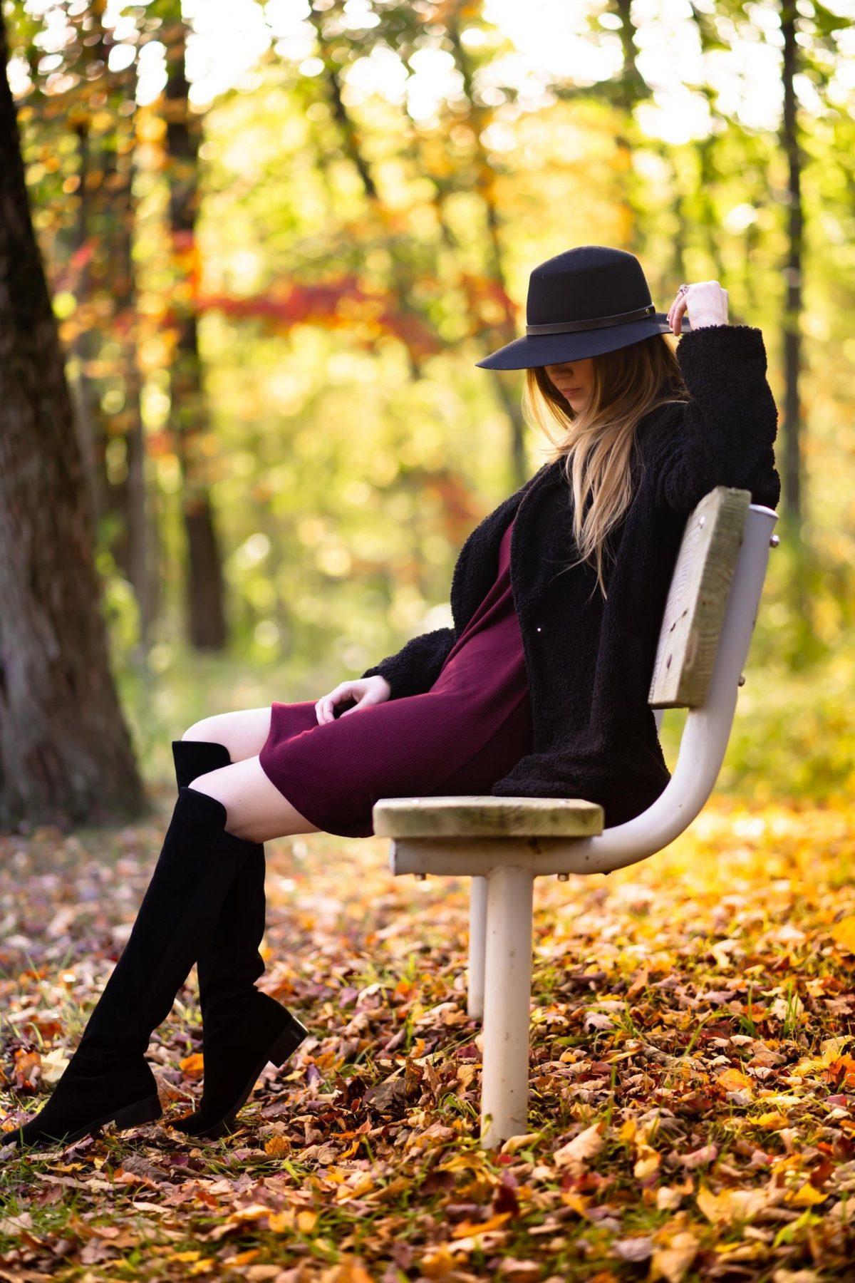 winter autumn outfit merlot red dress with black overknee boots coat and black fedora hat