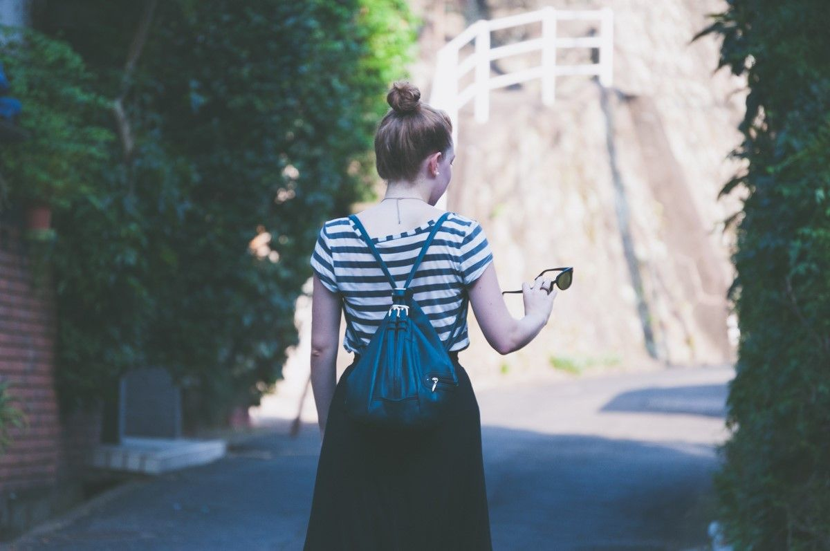 black and white striped tee with black skirt for summer