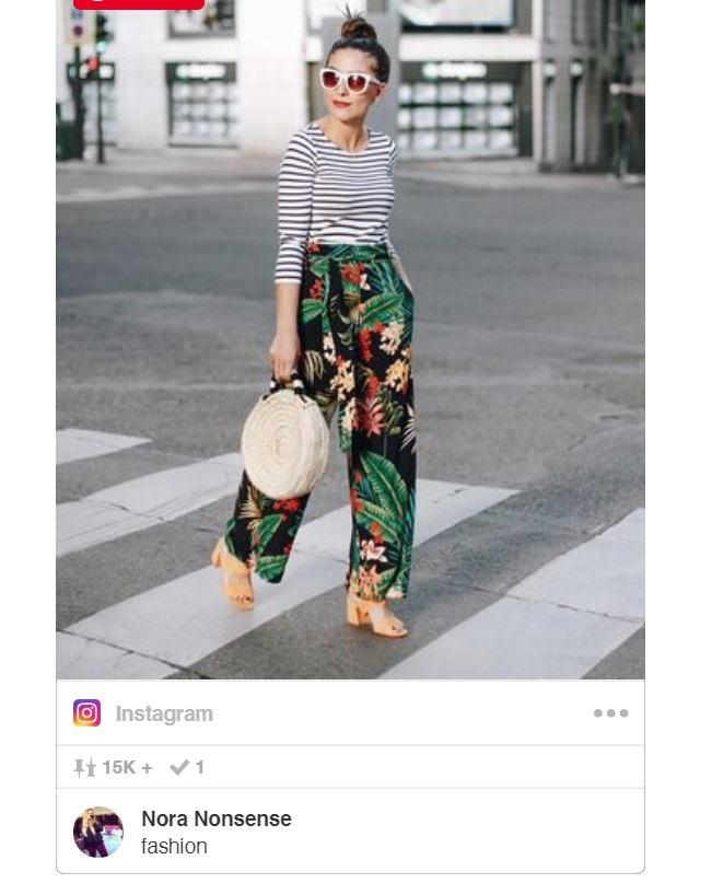 striped shirt outfit for summer with tropical printed wide leg pants