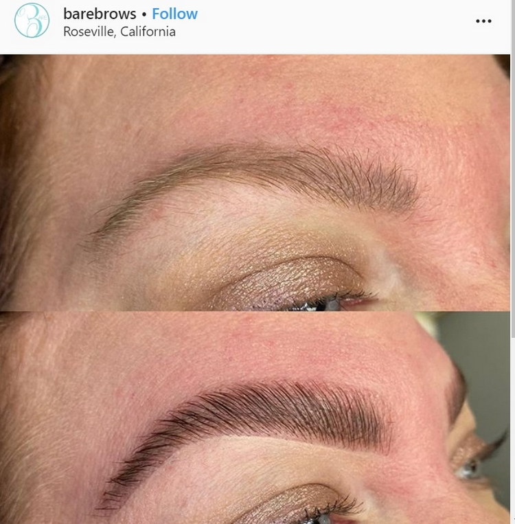 brow lamination treatment before and after on thin brows blonde
