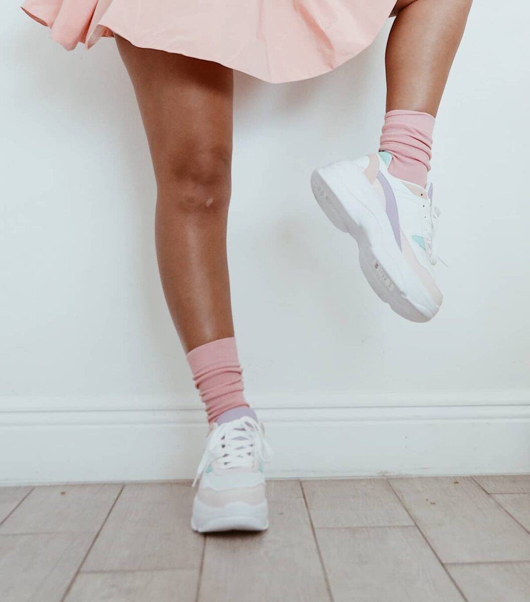 chunky sneakers with pastel pink high socks