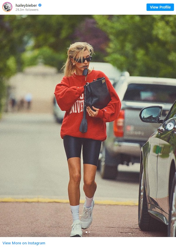 mid calf socks and sneakers outfit cycling shorts and hoodie
