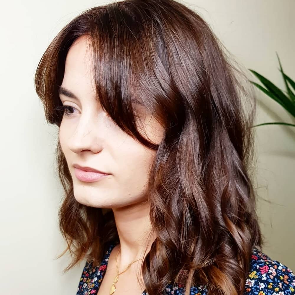 mid length hair with grown out fringe